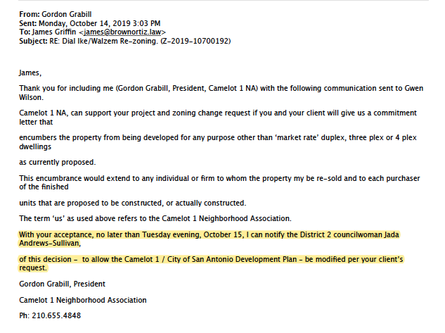 Camelot 1 Neighborhood Association President Gordon Grabill pushing for a response from Attorney James Griffin no later than Tuesday evening, October 15th.  Why?